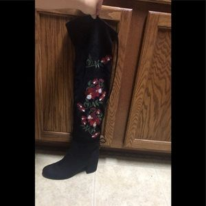 Black embroidered over the knee high boots